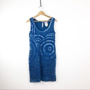 Yoana Baraschi Blue Sequin Tank Dress Size Small